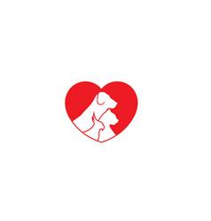 creative pet love logo design symbol vector image