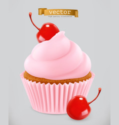 Cupcake with cherry 3d realistic icon vector