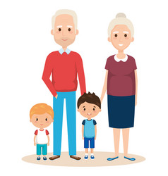 cute grandparents couple with grandchildren vector image