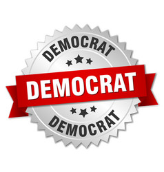 Democrat 3d silver badge with red ribbon vector