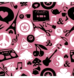 Different objects on pink background vector image vector image