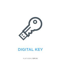 Digital key line flat icon vector