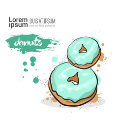 Donut hand drawn watercolor dessert food on white vector