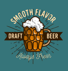 Draft beer logo label design with a mug or a kru vector