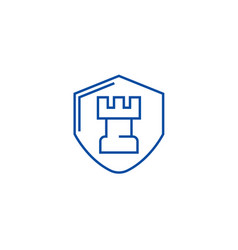 fortress castle shield line icon concept vector image