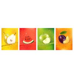 Fresh fruits juice splashing together- pear vector