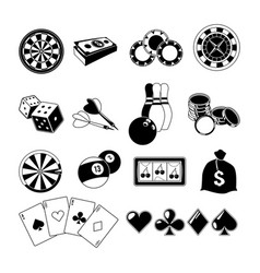 Gambling card games and different casino vector