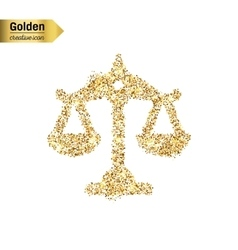 Gold glitter icon of scales isolated on vector