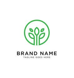 green leaf logo design inspiration vector image