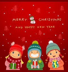 group happy kids with christmas gifts and vector image