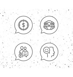 group of people money target and communication vector image
