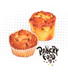Hand drawn baking muffins vector