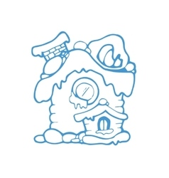 hand drawn christmas or winter house vector image