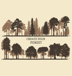 Hand drawn silhouettes different trees create vector