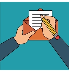 hand human with envelope vector image