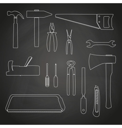 Hand tools outline icons on chalkboard eps10 vector