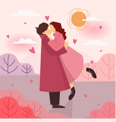 happy valentines day with embraces a loving vector image