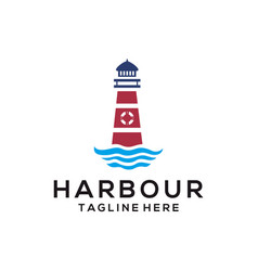 harbour beach sea logo and icon design vector image
