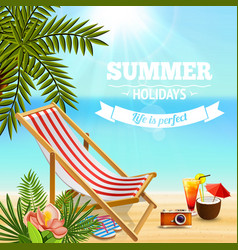 Holidays beach lounge background vector