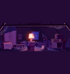 House attic at night with old furniture and lamp vector