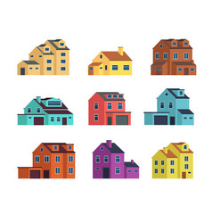 Houses front view urban and suburban house town vector