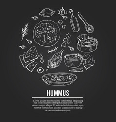 Hummus set with food and drink hand drawn vector