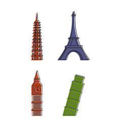 hystorical tower icon set color outline style vector image