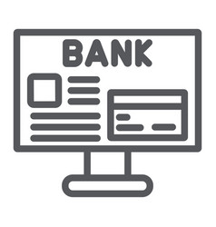 internet banking line icon finance and payment vector image