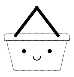 kawaii shopping basket in black dotted silhouette vector image