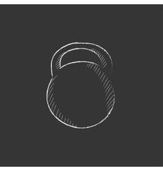 Kettlebell Drawn in chalk icon vector
