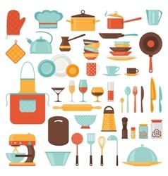Kitchen and restaurant icon set utensils vector