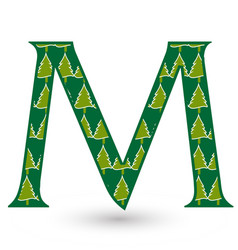 letter m christmas festive font icon vector image