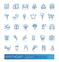 linear birthday icons set with reflection vector image