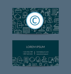 linear style copyright business card vector image