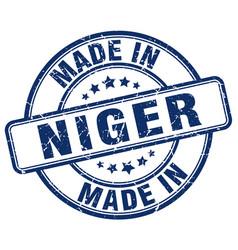 Made in niger blue grunge round stamp vector