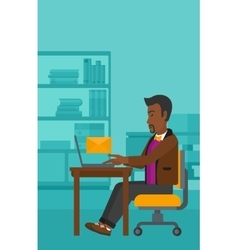 Man receiving email vector