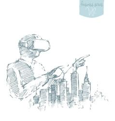 Man virtual reality goggles drawn sketch vector image