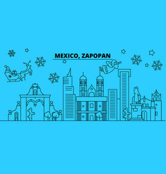 mexico zapopan winter holidays skyline merry vector image