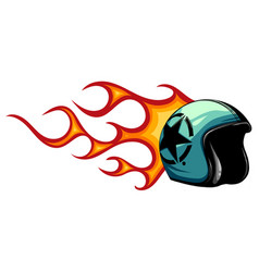 motorcycle helmet open face with flames vector image