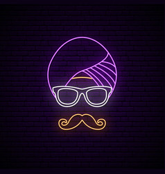 neon sign of hindu man in turban and glasses vector image