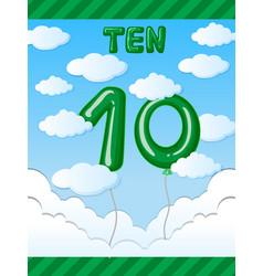Number ten balloon on sky vector