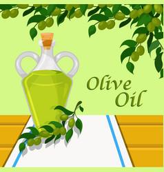 olive oil glass bottle of vegetable oil on the vector image