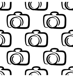 Outline camera seamless pattern background vector