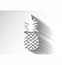 Pineapple paper with leaf logo icon heart shape vector