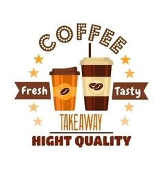 Premium takeaway coffee drinks symbol design vector