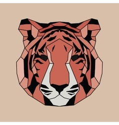 Red lined low poly tiger vector