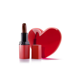 Red lipstick with 3d realistic heart lipstick vector