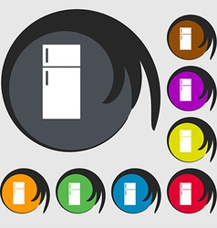 Refrigerator icon sign Symbols on eight colored vector