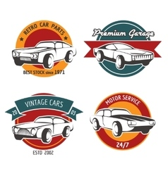 Retro car service badges vector