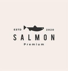salmon fish hipster vintage logo icon vector image